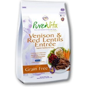Pure Vita Grain Free Venison and Red Lentils Recipe Dry Dog Food 25lb