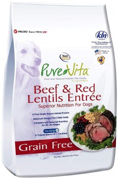 Pure Vita Grain Free Beef and Red Lentils Recipe Dry Dog Food 15lb