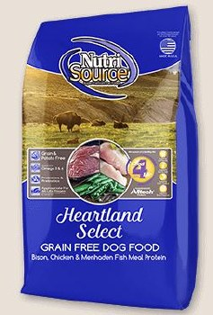 Nutrisource Grain Free Heartland Select Bison Chicken and Menhaden Fish Meal Protein Dry Dog Food 15lb