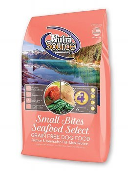 Nutrisource Grain Free Seafood Select Small Bites With Salmon and Menhaden Fish Meal Protein Dry Dog Food 15lb