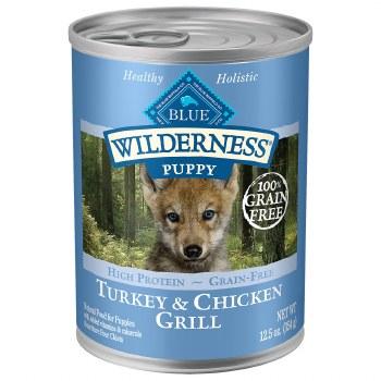 Blue Buffalo Wilderness Turkey and Chicken Grill Grain Free Puppy Canned Dog Food 12.5oz