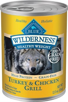 Blue Buffalo Wilderness Healthy Weight Turkey and Chicken Grill Grain Free Adult Canned Dog Food 12.5oz