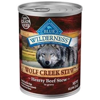 Blue Buffalo Wilderness Wolf Creek Stew Hearty Beef Stew Grain Free Adult Canned Dog Food 12.5oz