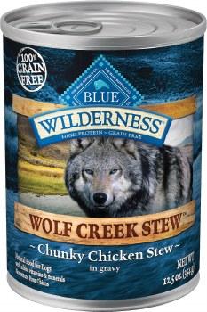 Blue Buffalo Wilderness Wolf Creek Stew Chunky Chicken Stew Grain Free Adult Canned Dog Food 12.5oz