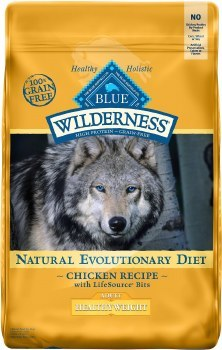 Blue Buffalo Wilderness Healthy Weight Chicken Recipe Grain Free Dry Dog Food 24lb