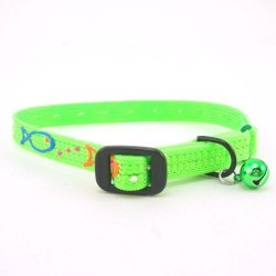 Hand Painted Nylon Safety Collar Lime Green With Bell