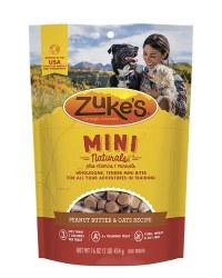 Zuke's Mini Naturals Peanut Butter & Oats Recipe Dog Treats 1lb