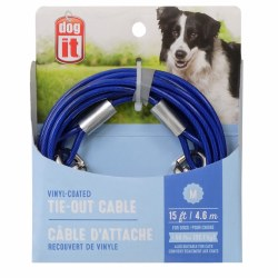 DogIt Vinyl Coated Tie Out Cable Medium 15 Feet