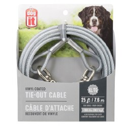 DogIt Vinyl Coated Tie Out Cable Extrta Large 25 Feet