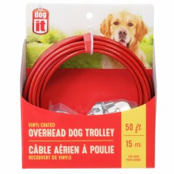 DogIt 50 Foot Vinyl Coated Overhead Dog Trolley