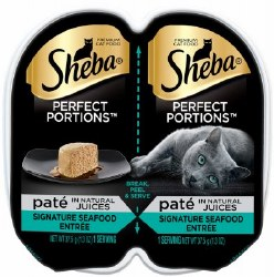 Sheba Perfect Portions Pate In Natural Juices Signature Seafood Entree Grain Free Wet Cat Food Twin Pack 2.65oz