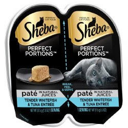 Sheba Perfect Portions Pate in Natural Juices Savory Whitefish and Tuna Entree Grain Free Wet Cat Food Twin Pack 2.65oz