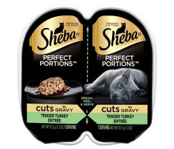 Sheba Perfect Portions Cuts in Natural Juices Savory Turkey in Gravy Grain Free Wet Cat Food Twin Pack 2.65oz