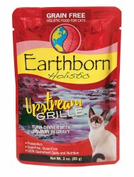 Earthborn Holistic Upstream Grille Tuna Dinner with Salmon in Gravy Grain Free Wet Cat Food Pouches 3oz