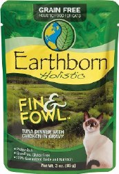 Earthborn Holistic Fin & Fowl Tuna Dinner with Chicken in Gravy Grain Free Wet Cat Food Pouches 3oz