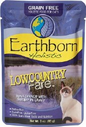 Earthborn Holistic Lowcountry Fare Tuna Dinner with Shrimp in Gravy Grain Free Wet Cat Food Pouches 3oz