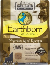 Earthborn Holistic Grain Free Chicken Meal Recipe Oven Baked Dog Treats 14oz