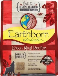 Earthborn Holistic Grain Free Bison Meal Recipe Oven Baked Dog Treats 14oz