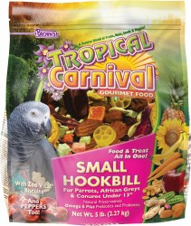 Browns Tropical Carnival Small Hookbill Food and Treat All In One Gourmet Food With Zoo Vital Biscuits 5lb