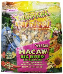 Brown's Tropical Carnival Big Bites with ZOO-Vital Biscuits Macaw Bird Food 5lbs