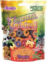 Brown's Tropical Carnival Hoops & Honey Strawberry Flavor Small Animal Treats 3oz