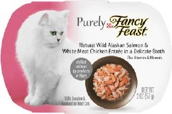 Fancy Feast Purely Wild Alaskan Salmon and White Meat Chicken Entree in Delicate Broth Wet Cat Food 2oz
