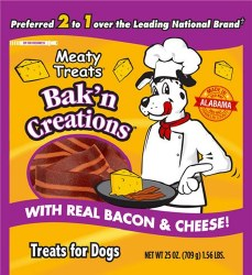 Meaty Treats Bakn Creations Bacon & Cheese Flavor Dog Treats 25oz