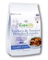 Pure Vita Grain Free Turkey and Sweet Potato Formula Dry Dog Food 15lb