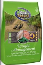 Nutrisource Grain Free Weight Management Turkey Whitefish and Menhaded Fish Meal Protein Dry Dog Food 30lb