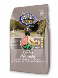 Nutrisource Grain Free Senior Turkey Whitefish and Menhaded Fish Meal Protein Dry Dog Food 15lb