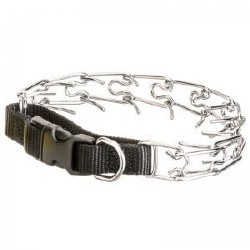Easy On Nylon Prong Pinch Training Collar With Buckle 22 Inch Black