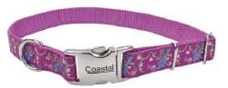 Ribbon Nylon Adjustable Collar 5/8 Inch x 18 Inch Orchid Bouquet