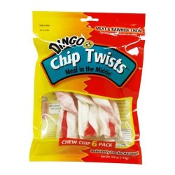 Dingo 3.9 Ounce Chip Twists Rawhide With A Chicken Center
