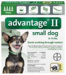 Bayer Advantage II Small Dog 3-10 lbs 4 Month Supply