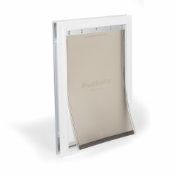 PetSafe Freedom Aluminum Pet Door for Dogs and Cats White Tinted Vinyl Flap Medium 40lbs Or Less