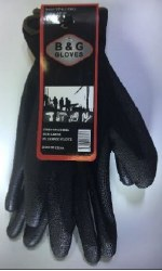 Black Poly Coated Palm Gloves Large