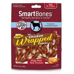 Smartbones Chicken Wrapped Sticks Mini 15 Pack Rawhide Free Dog Chews