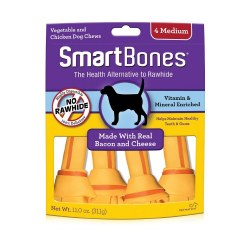 Smartbones Bacon And Cheese Medium 4 Pack Rawhide Free Dog Treats