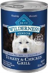 Blue Buffalo Wilderness Turkey and Chicken Grill Grain Free Senior Canned Dog Food 12.5oz
