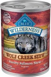 Blue Buffalo Wilderness Wolf Creek Stew Savory Salmon Stew Grain Free Adult Canned Dog Food 12.5oz