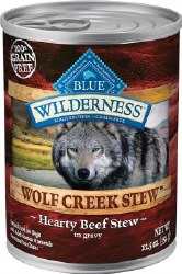 Blue Buffalo Wilderness Wolf Creek Stew Hearty Beef Stew Grain Free Adult Canned Dog Food Case of 12 12.5oz