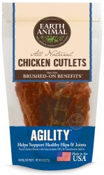 Earth Animal Agility Brushed On Benefit Chicken Cutlets Hip & Joint Support Dog Treats 8oz