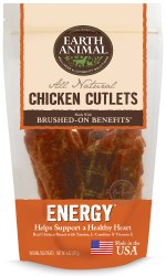 Earth Animal Energy Brushed On Benefit Chicken Cutlets Healthy Heart Support Dog Treats 8oz