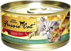 Fussie Cat Gold Chicken with Vegetables in Gravy Super Premium Grain Free Canned Cat Food 2.8oz