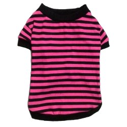 Pink/Black Stripe T Small
