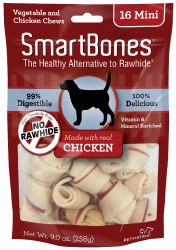 Smartbones Chicken Flavored Mini 16 Pack Rawhide Free Dog Chews