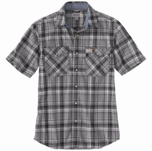 104171 Rugged Flex® Relaxed Fit Lightweight Short-Sleeve Snap-Front Plaid Shirt