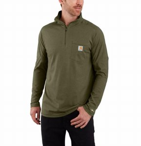 104255 Force Relaxed Fit Midweight Long-Sleeve 1/4 Zip Pocket T-Shirt