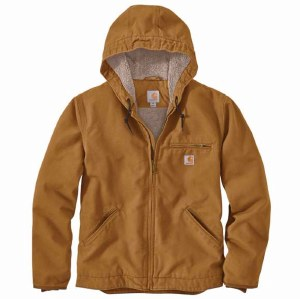104392 Washed Duck Sherpa-Lined Hooded Jacket
