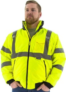 75-1381 Hi-Vis 8 in 1 Fleece Lined Waterproof Bomber Jacket